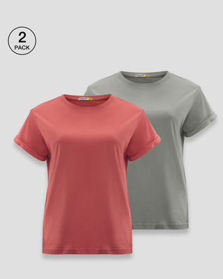 Shop Boyfriend Plain T-Shirt - Pack of 2-Front