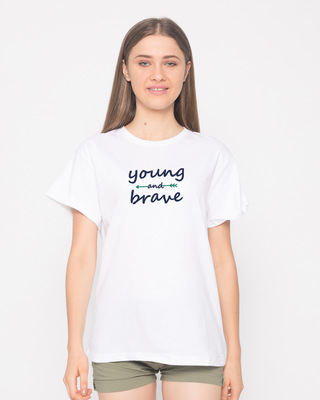 Shop Brave And Young Boyfriend T-Shirt-Front