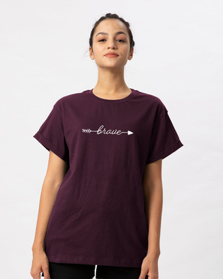 Shop Brave Arrow Boyfriend T-Shirt-Front