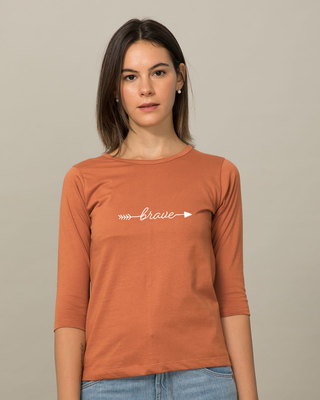 Shop Brave Arrow Round Neck 3/4th Sleeve T-Shirt-Front