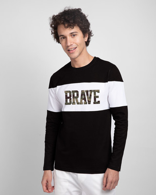Shop Brave Camouflage Color Block T-Shirt-Front