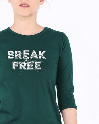 Shop Break Free Round Neck 3/4th Sleeve T-Shirt-Front