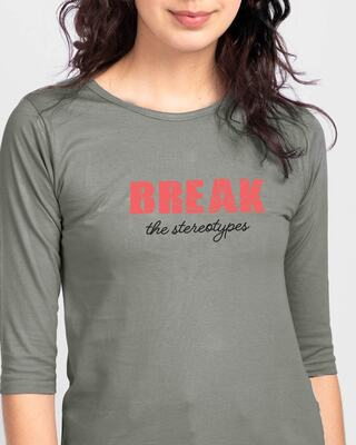 Shop Break Stereotypes Round Neck 3/4 Sleeve T-Shirts Meteor Grey-Front