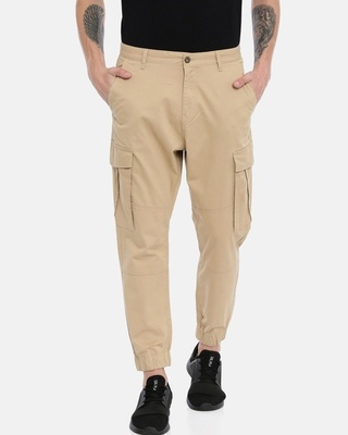 Shop Breakbounce Men Solid Casual Trousers-Front