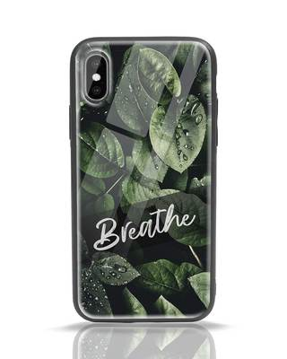 Shop Breathe Green iPhone X Glass Mobile Cover-Front