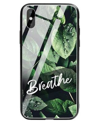 Shop Breathe Green iPhone XS Glass Mobile Cover-Front
