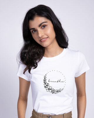 Shop Breathe In Half Sleeve T-Shirt White-Front