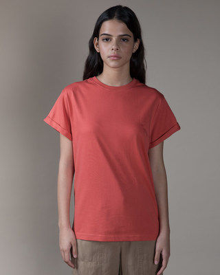 Shop Brick Red Boyfriend T-Shirt-Front