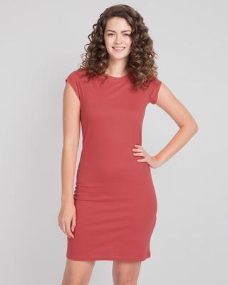 Shop Brick Red Cap Sleeve Plain T-Shirt Dress-Front