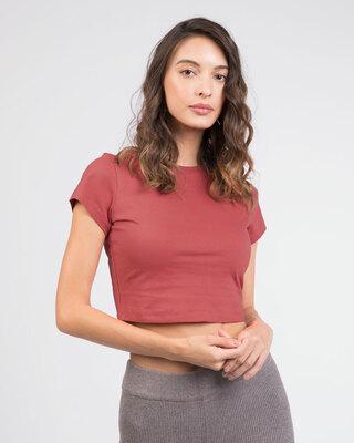 Shop Brick Red Crop Top T-Shirt-Front