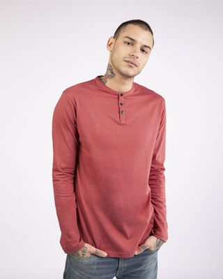 Shop Brick Red Full Sleeve Henley T-Shirt-Front