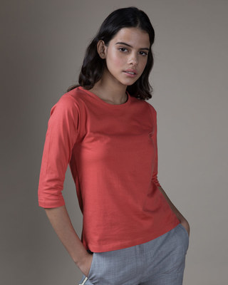 Shop Brick Red Round Neck 3/4th Sleeve T-Shirt-Front