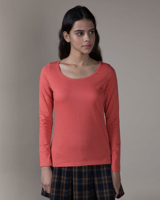 Shop Brick Red Scoop Neck Full Sleeve T-Shirt-Front