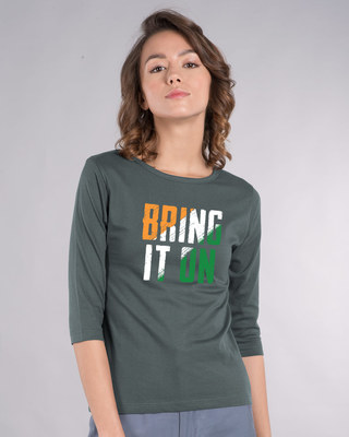 Shop Bring It On Tricolor Round Neck 3/4th Sleeve T-Shirt-Front