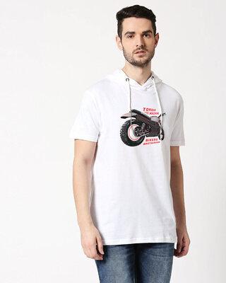 Shop Brotherhood Of Bikers Half Sleeve Hoodie T-Shirt White-Front