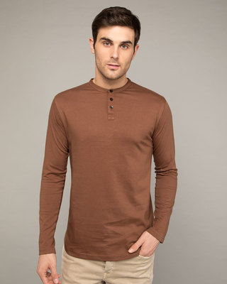 Shop Brown Full Sleeve Henley T-Shirt-Front