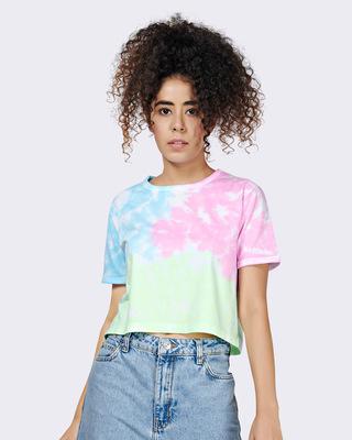 Shop Brown Mocha Womens Beach Tie Dye Crop T-shirt Boxy Fit-Front