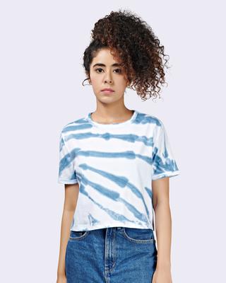 Shop Brown Mocha Womens Surf Tie-Dye Crop T-shirt Boxy Fit-Front
