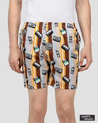 Shop What's Down | Brown Old Tech Boxer Shorts | Year 2000 Boxers-Front