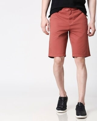 Shop Burnt Brown Men's Shorts-Front