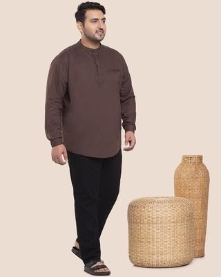 Shop Brown Plus Size Solid Mandarin Collar Shirt-DAVE-Front