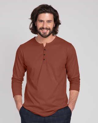 Shop Brown V-Neck Henley T-Shirt-Front