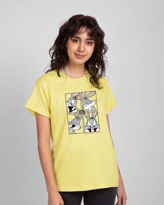 Shop Bugs Bunny moods Boyfriend T-Shirts (LTL) Pastel Yellow-Front