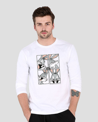 Shop Bugs Bunny moods Full Sleeve T-Shirt (LTL) White-Front