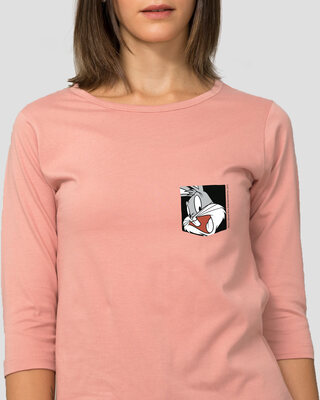 Shop Bugs On A Pocket Round Neck 3/4 Sleeve T-Shirts Misty Pink (LTL) -Front
