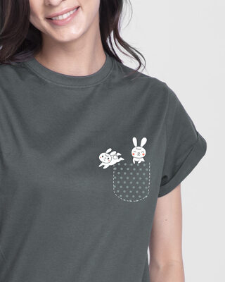 Shop Bunny Rabbit Pocket  Boyfriend T-Shirt  Nimbus Grey-Front