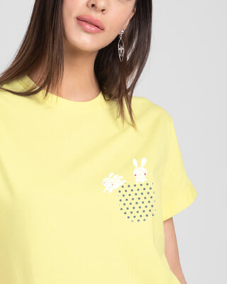 Shop Bunny Rabbit Pocket Boyfriend T-Shirts-Front