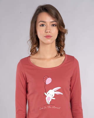 Shop Bunny With Balloons Scoop Neck Full Sleeve T-Shirt-Front