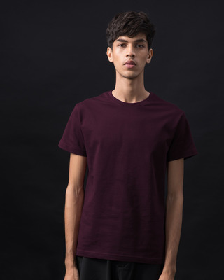 Shop Burgundy Half Sleeve T-Shirt-Front
