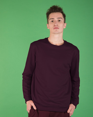 Shop Burgundy Fleece Sweater-Front