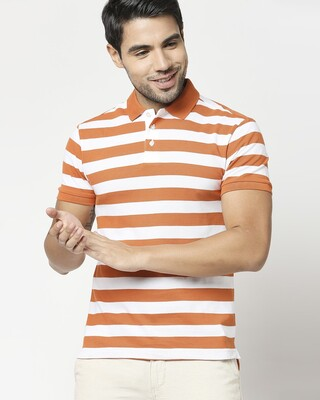 Shop Burnt Orange & White Half Sleeve Stripes Polo-Front