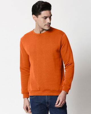 Shop Burnt Orange Fleece Sweater-Front