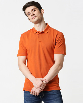 Shop Burnt Orange Half Sleeve Contrast Polo-Front