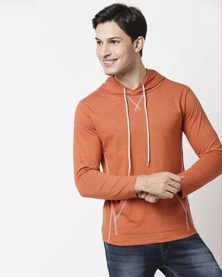 Shop Burnt Orange Melange Hoodie T-Shirt-Front