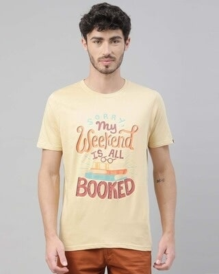 Shop Bushirt My Weekend Is Booked Printed T-Shirt-Front