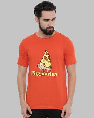 Shop Bushirt Pizzatarian Printed T-Shirt-Front