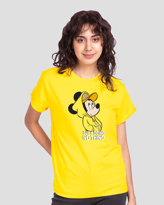 Shop Busy Doin Nothing Boyfriend T-Shirt (DL) Pineapple Yellow-Front