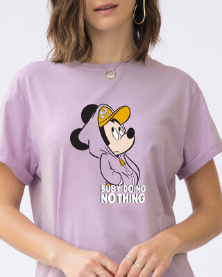 Shop Busy Doin Nothing Boyfriend T-Shirt (DL)-Front