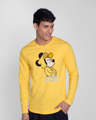 Shop Busy Doin Nothing Full Sleeve T-Shirt (DL) Summer Yellow-Front