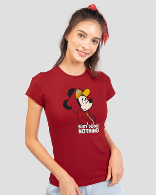 Shop Busy Doin Nothing Half Sleeve T-Shirt (DL) Bold Red-Front