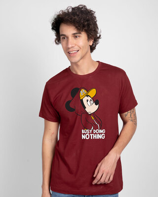 Shop Busy Doin Nothing Half Sleeve T-Shirt (DL) Scarlet Red-Front