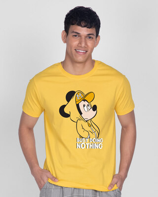 Shop Busy Doin Nothing Half Sleeve T-Shirt (DL) Summer Yellow-Front