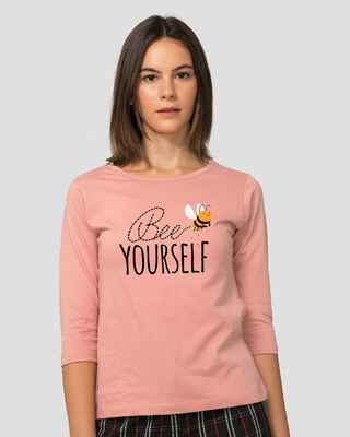 Shop Buzzing Bee Yourself Round Neck 3/4th Sleeve T-Shirt-Front