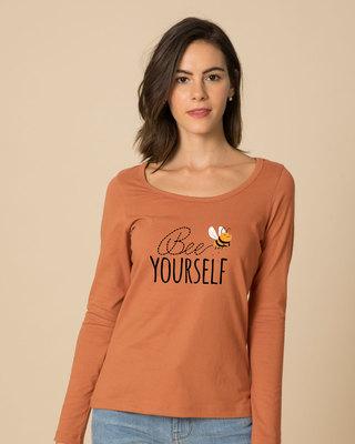 Shop Buzzing Bee Yourself Scoop Neck Full Sleeve T-Shirt-Front