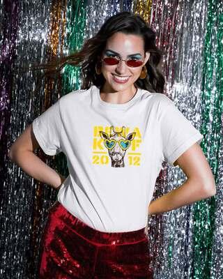 Shop BWKF Giraffe Boyfriend T-Shirt-Front