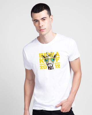 Shop BWKF Giraffe Half Sleeve T-Shirt-Front